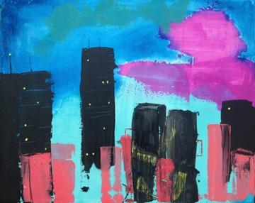"""Metro Flash – 20"""" x 16"""" – on canvas – acrylic blend mix"""