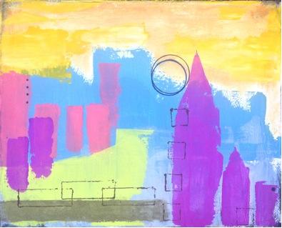 """Tower Haze – 20"""" x 16"""" – acrylic blend mix"""