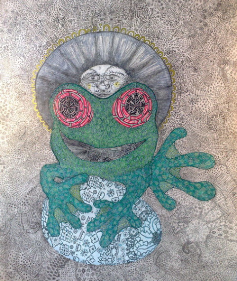 Frog_Queen takes a journey   finds a treasure 2014 acrylic   ink on canvas