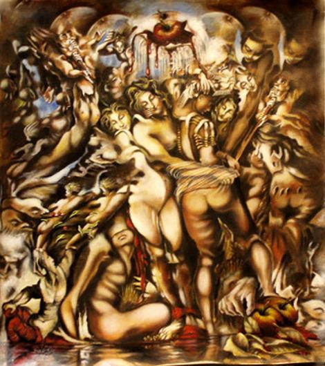 Shahla - An apple for Adam & Eve. oil on canvas