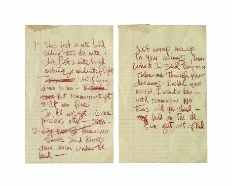Lyrics in Jimi Hendrix's hand for the song Night Bird Flying