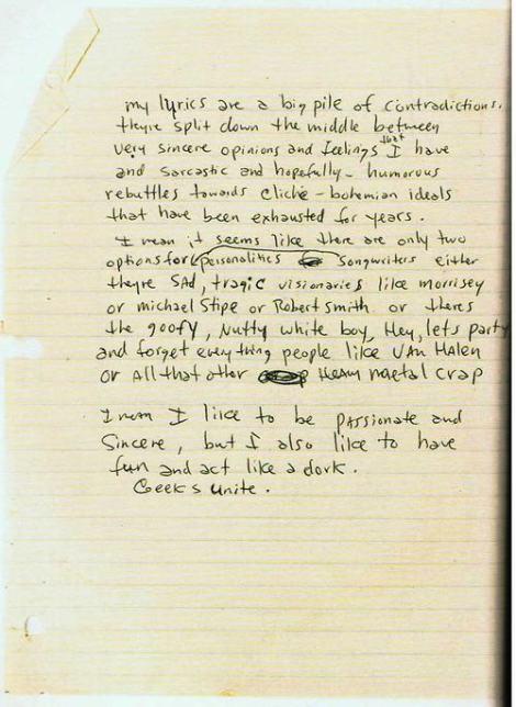 Kurt Cobain - Journal entry.