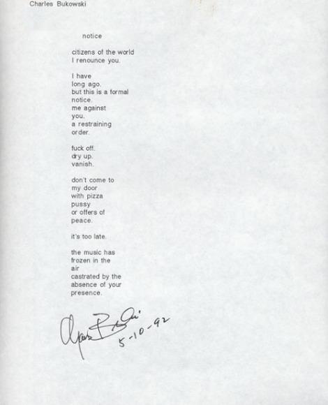 Bukowski - Notice
